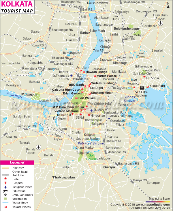 Kolkata Map Map of Kolkata India India Maps Maps India – Tourist Attractions Map In India