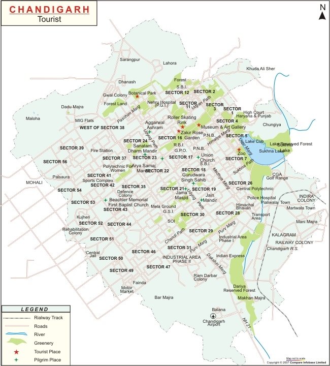 chandigarh india map