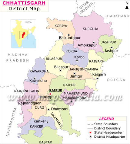 Chhattisgarh Map, Map of Chhattisgarh India, India State Maps, India ...