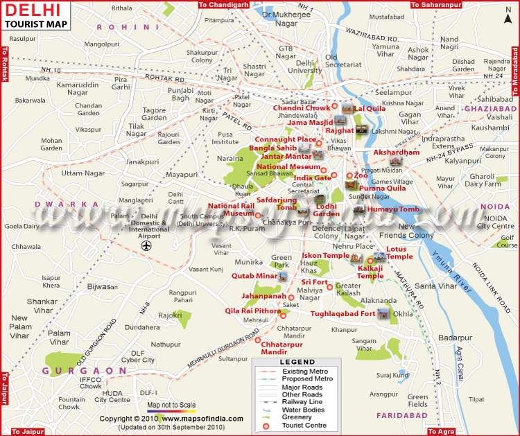 Map Of Delhi New Delhi Toutist Map