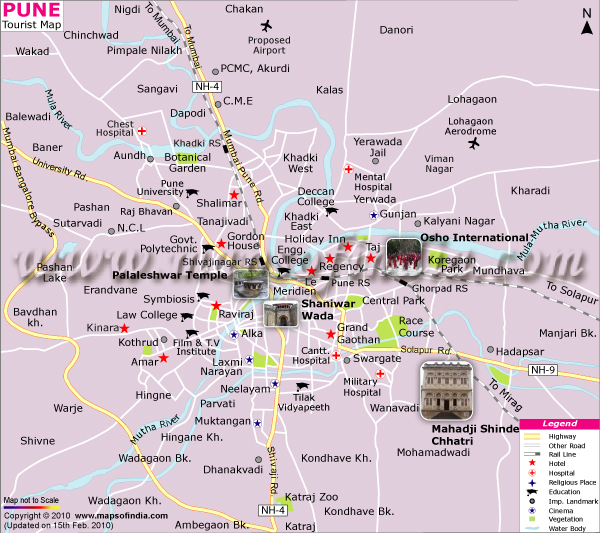 Pune Map, Tourist Map of Pune India
