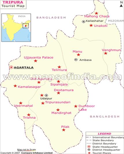 Tripura Map, Map of Tripura India, India Maps, Maps India ...